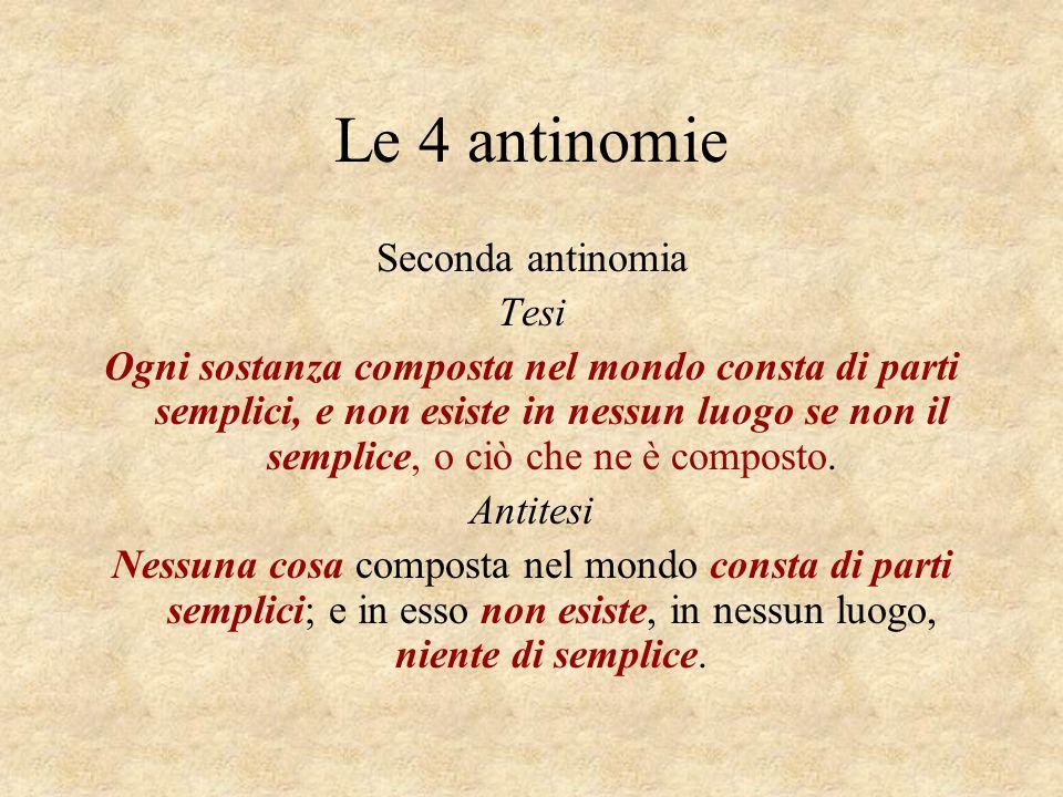 Le 4 antinomie Seconda antinomia Tesi