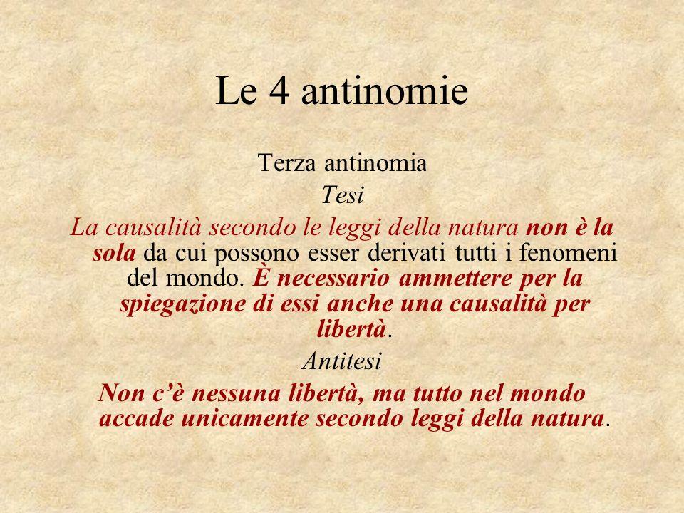 Le 4 antinomie Terza antinomia Tesi