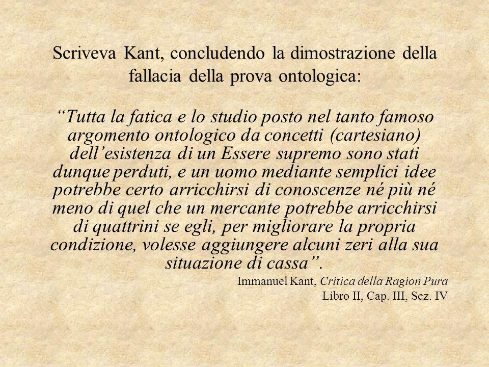 Scriveva Kant, concludendo la dimostrazione della fallacia della prova ontologica: