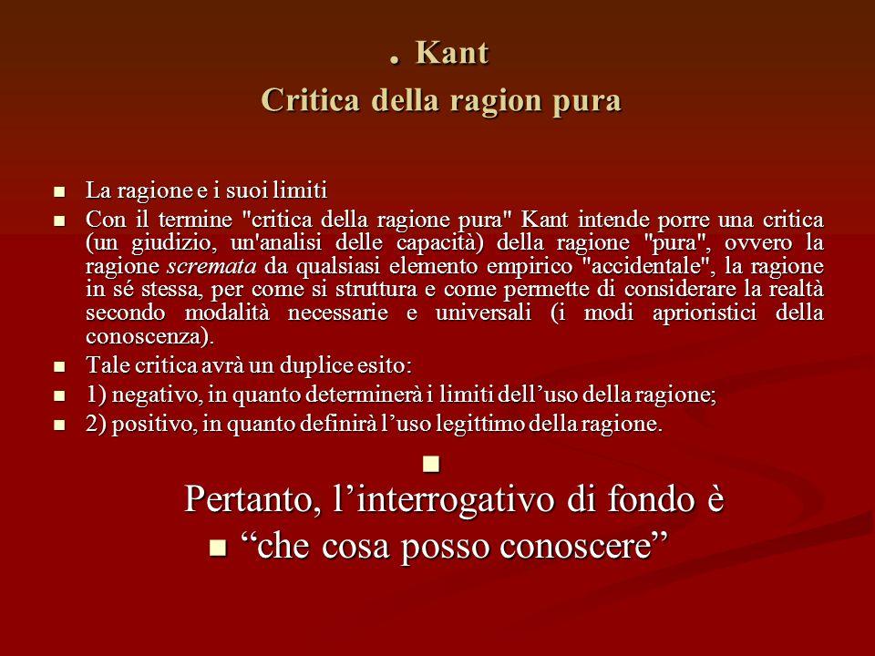 . Kant Critica della ragion pura