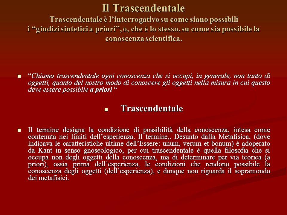 Il Trascendentale Trascendentale è l'interrogativo su come siano possibili i giudizi sintetici a priori , o, che è lo stesso, su come sia possibile la conoscenza scientifica.