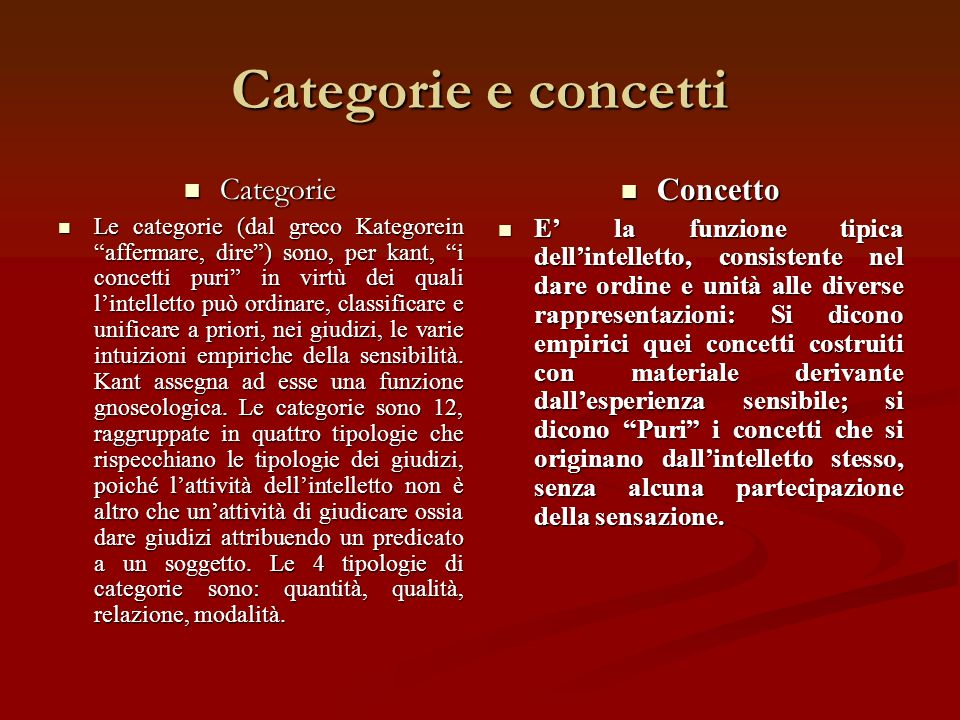 Categorie e concetti Categorie Concetto