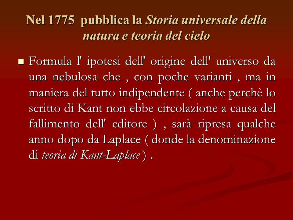 Nel 1775 pubblica la Storia universale della natura e teoria del cielo