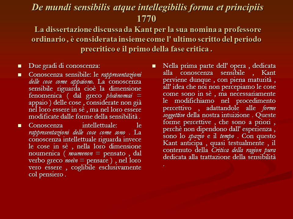 De mundi sensibilis atque intellegibilis forma et principiis 1770 La dissertazione discussa da Kant per la sua nomina a professore ordinario , è considerata insieme come l ultimo scritto del periodo precritico e il primo della fase critica .