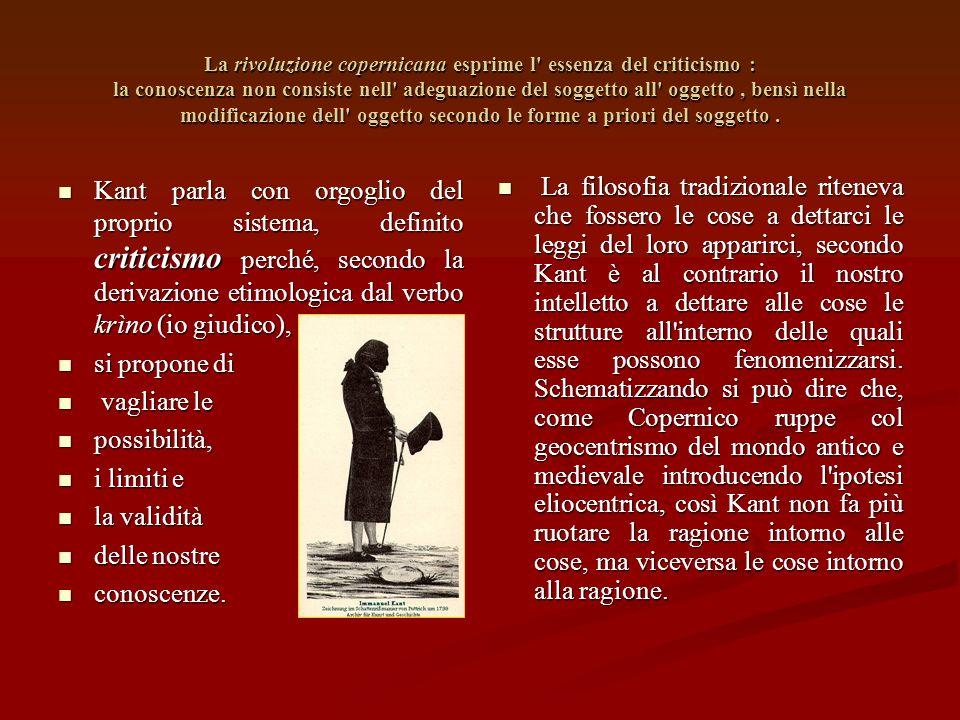 La rivoluzione copernicana esprime l essenza del criticismo : la conoscenza non consiste nell adeguazione del soggetto all oggetto , bensì nella modificazione dell oggetto secondo le forme a priori del soggetto .