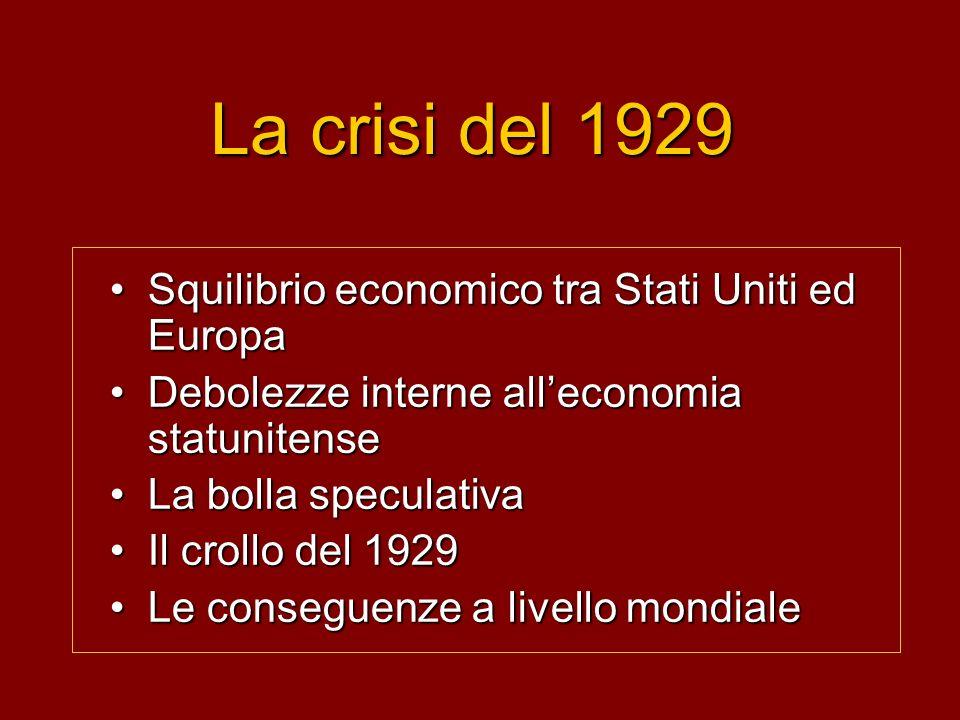 La crisi del 1929 Squilibrio economico tra Stati Uniti ed Europa