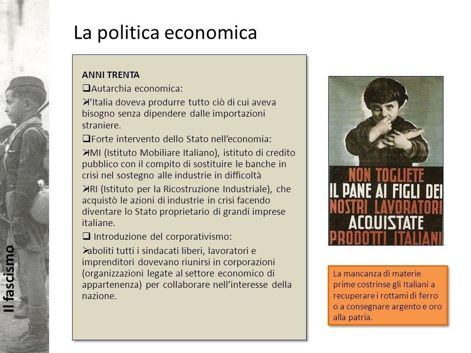 La politica economica ANNI TRENTA Autarchia economica: