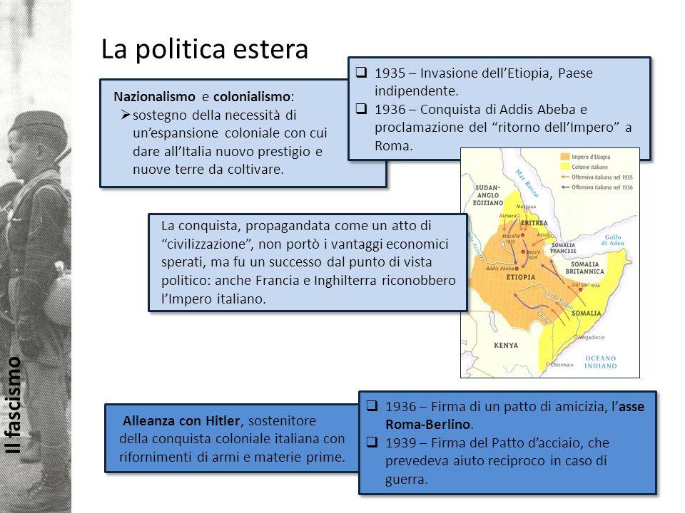 La politica estera 1935 – Invasione dell'Etiopia, Paese indipendente.