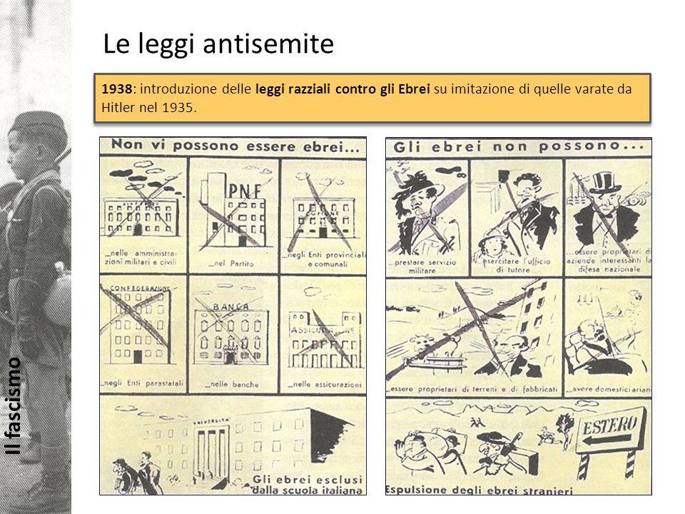 Le leggi antisemite 1938: introduzione delle leggi razziali contro gli Ebrei su imitazione di quelle varate da Hitler nel 1935.