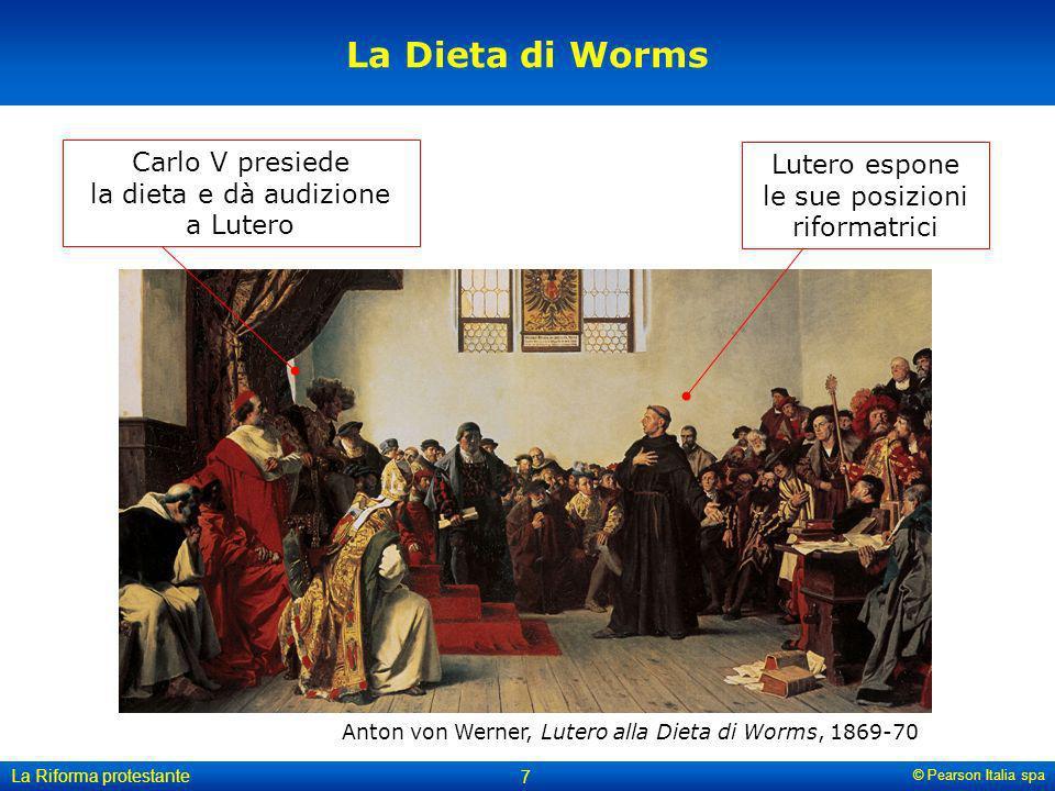 La Dieta di Worms Carlo V presiede la dieta e dà audizione a Lutero