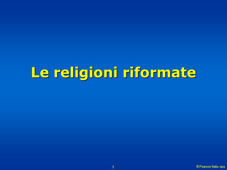 Le religioni riformate