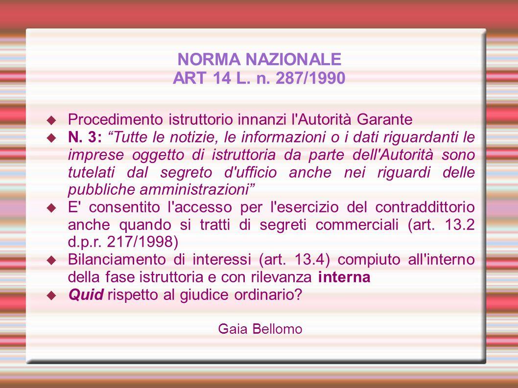 NORMA NAZIONALE ART 14 L. n. 287/1990