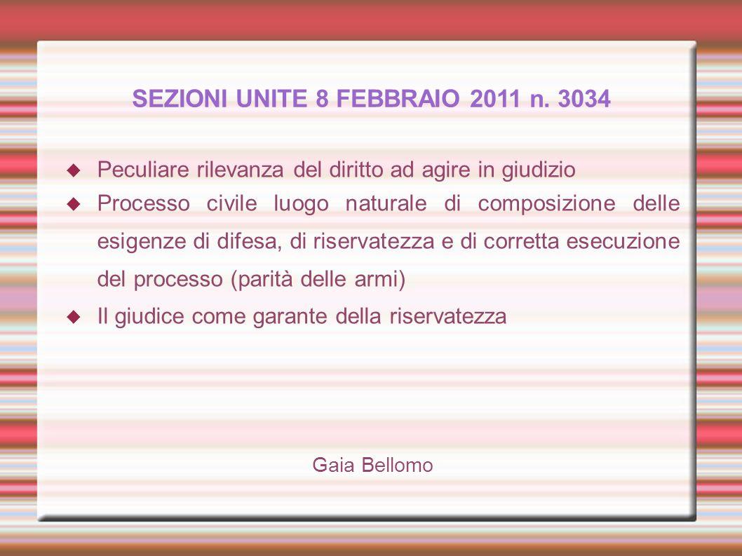 SEZIONI UNITE 8 FEBBRAIO 2011 n. 3034