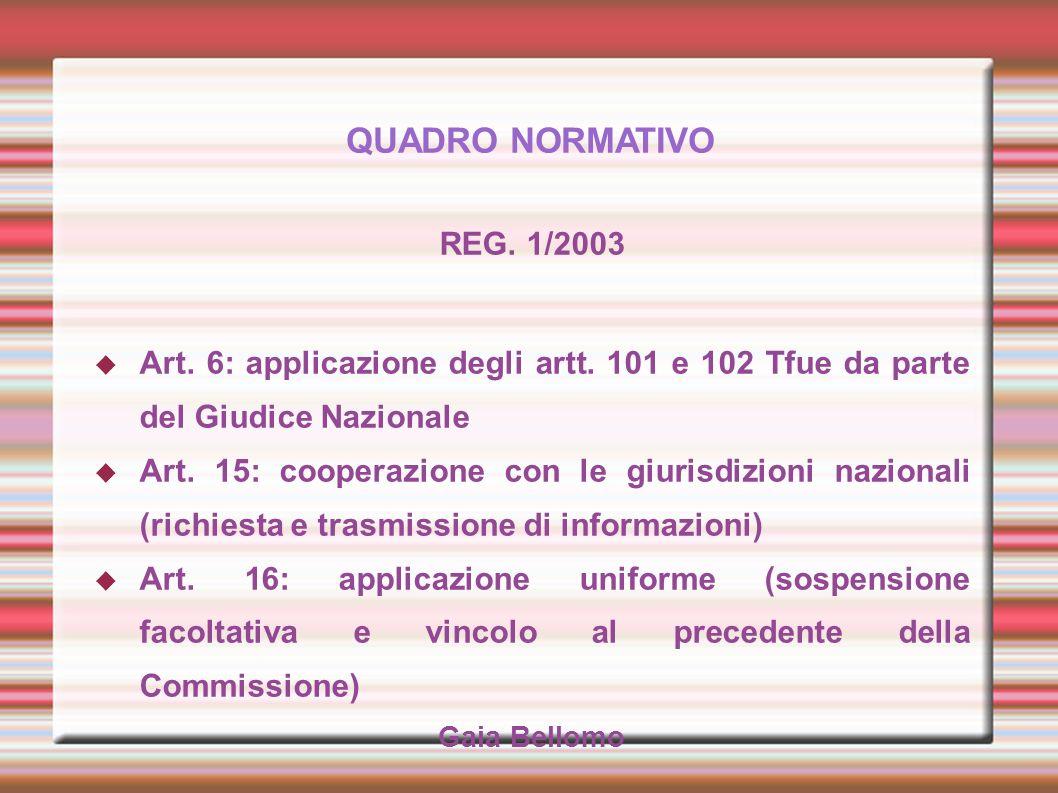 QUADRO NORMATIVO REG. 1/2003. Art. 6: applicazione degli artt. 101 e 102 Tfue da parte del Giudice Nazionale.