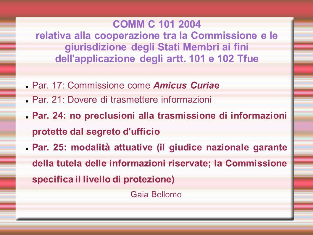 COMM C 101 2004 relativa alla cooperazione tra la Commissione e le giurisdizione degli Stati Membri ai fini dell applicazione degli artt. 101 e 102 Tfue