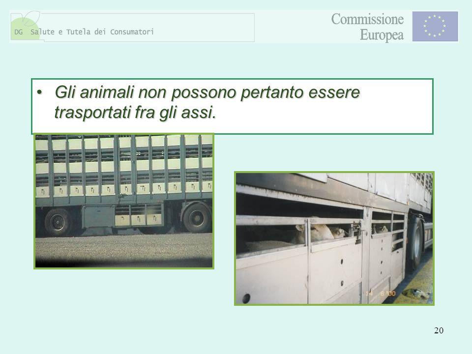 Gli animali non possono pertanto essere trasportati fra gli assi.