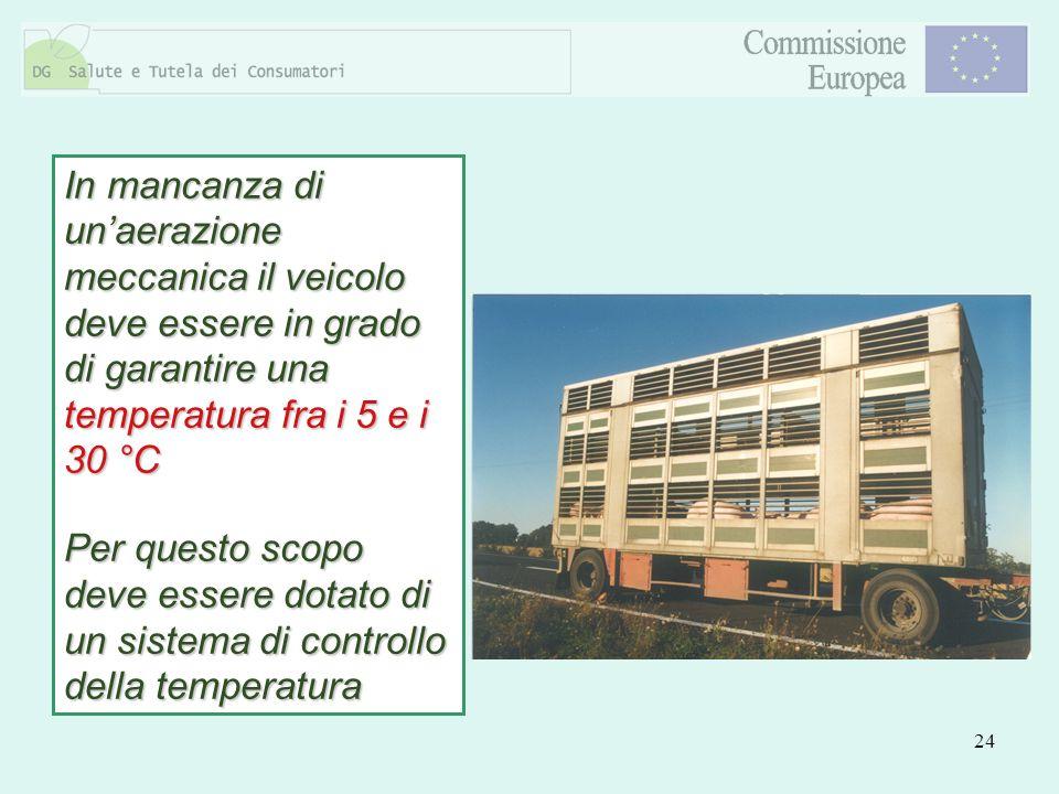 In mancanza di un'aerazione meccanica il veicolo deve essere in grado di garantire una temperatura fra i 5 e i 30 °C Per questo scopo deve essere dotato di un sistema di controllo della temperatura