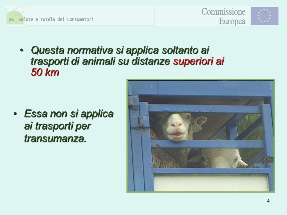 Questa normativa si applica soltanto ai trasporti di animali su distanze superiori ai 50 km