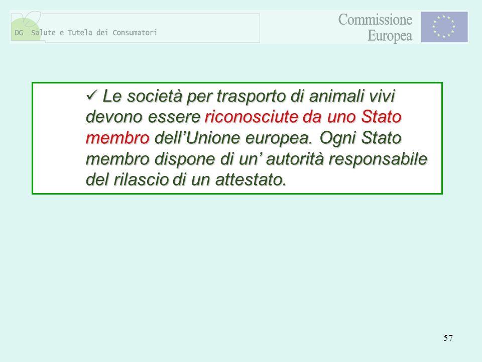 Le società per trasporto di animali vivi devono essere riconosciute da uno Stato membro dell'Unione europea.