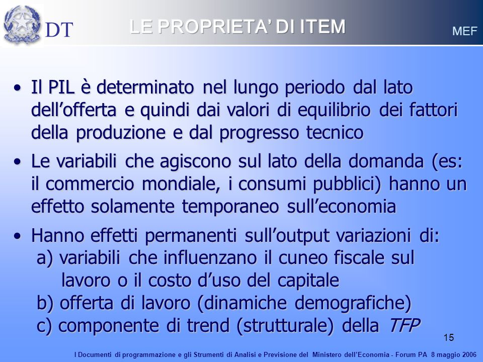 DT LE PROPRIETA' DI ITEM