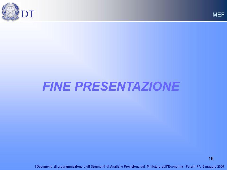 FINE PRESENTAZIONE DT MEF