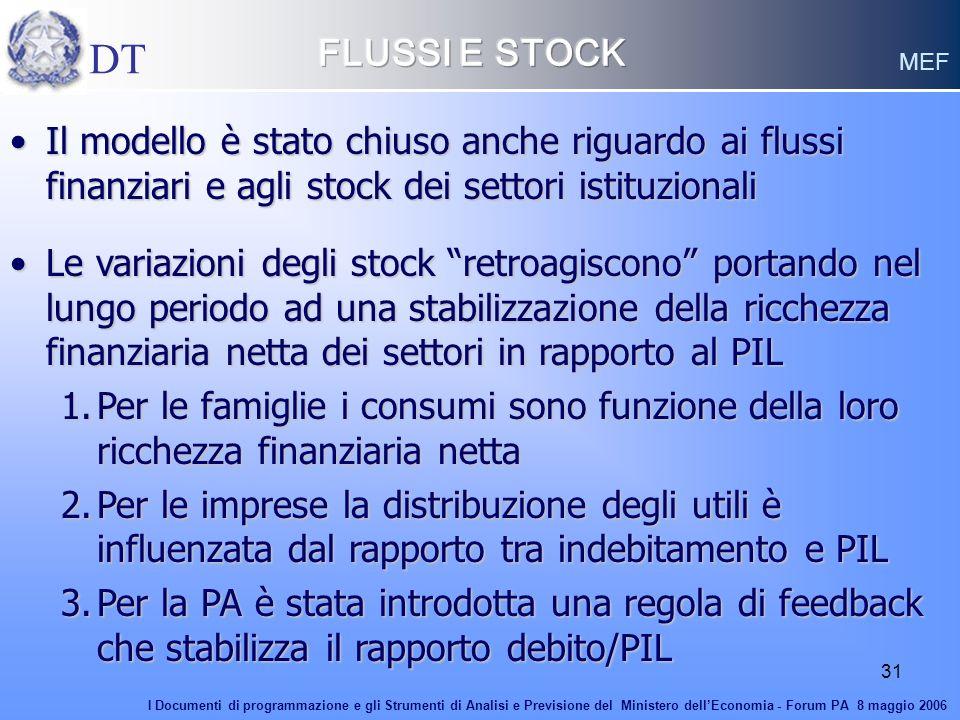 FLUSSI E STOCK DT. MEF. Il modello è stato chiuso anche riguardo ai flussi finanziari e agli stock dei settori istituzionali.