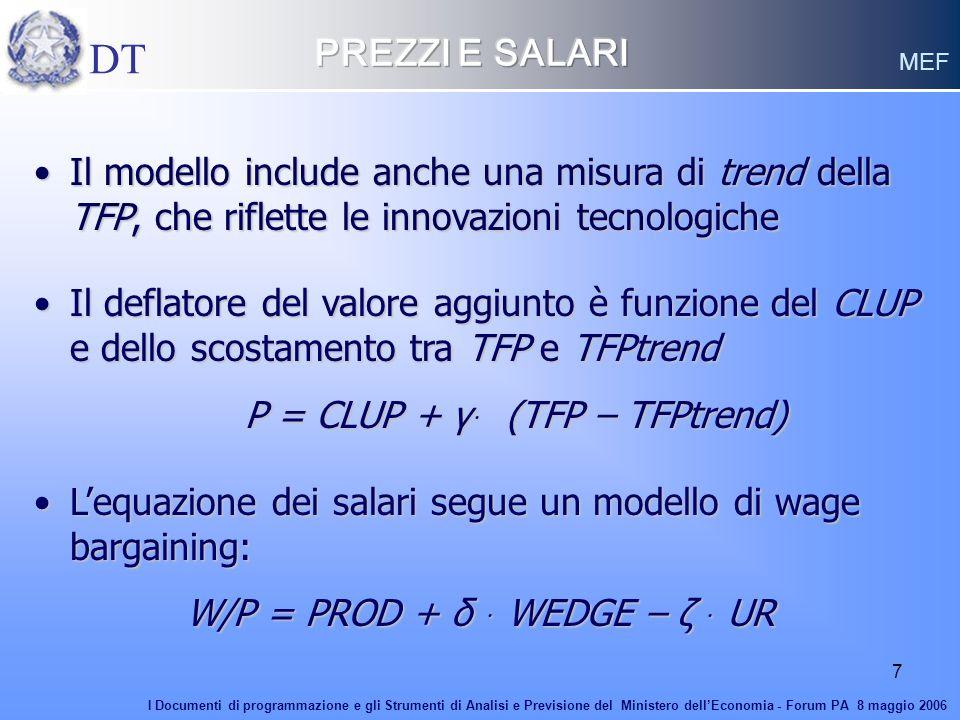 PREZZI E SALARI DT. MEF. Il modello include anche una misura di trend della TFP, che riflette le innovazioni tecnologiche.