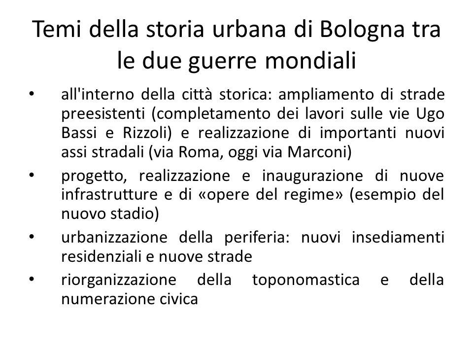 Temi della storia urbana di Bologna tra le due guerre mondiali