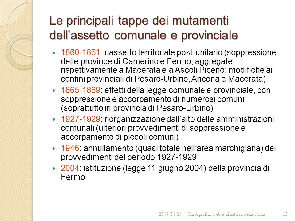 Le principali tappe dei mutamenti dell'assetto comunale e provinciale