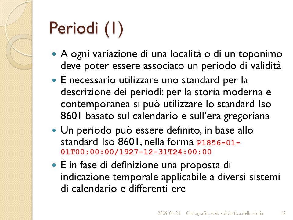 Periodi (1) A ogni variazione di una località o di un toponimo deve poter essere associato un periodo di validità.