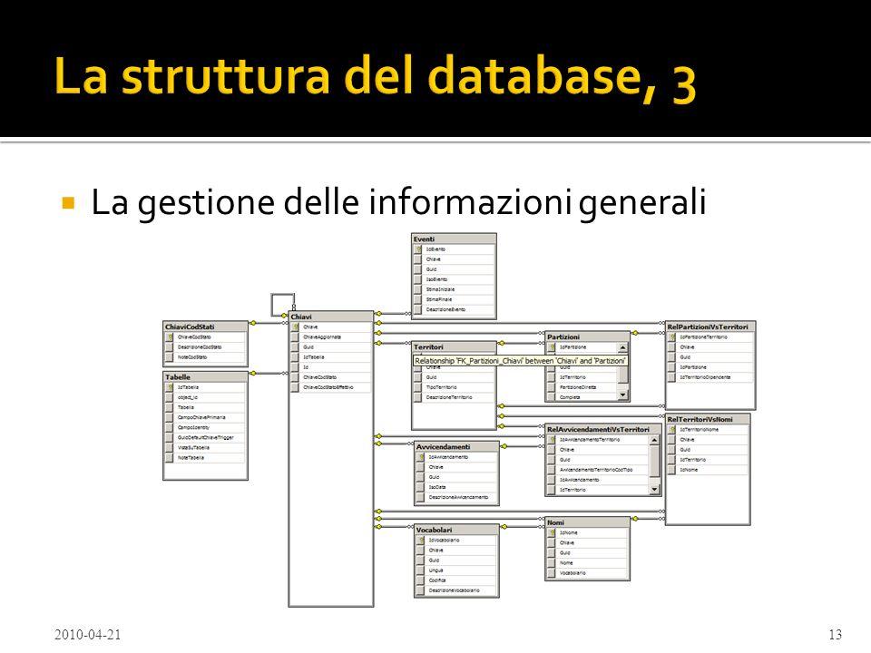 La struttura del database, 3