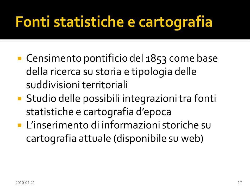 Fonti statistiche e cartografia