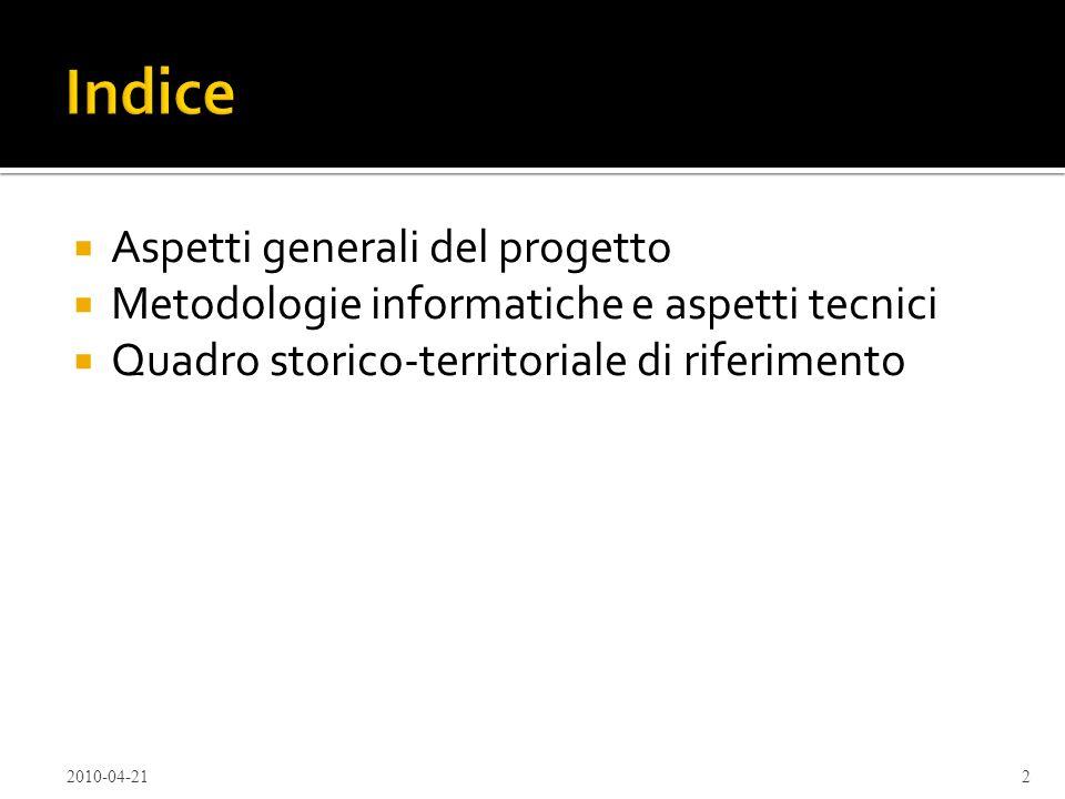 Indice Aspetti generali del progetto
