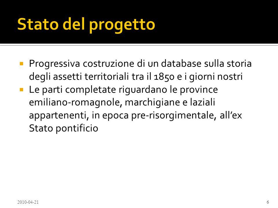 Stato del progettoProgressiva costruzione di un database sulla storia degli assetti territoriali tra il 1850 e i giorni nostri.