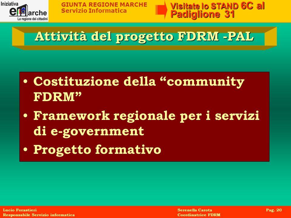 Attività del progetto FDRM -PAL