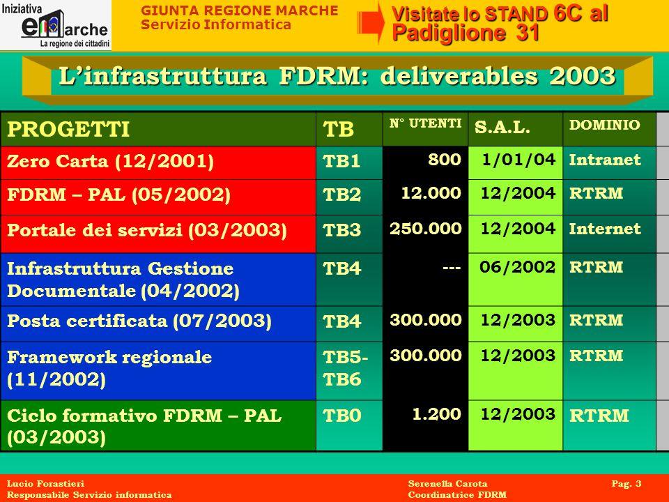 L'infrastruttura FDRM: deliverables 2003