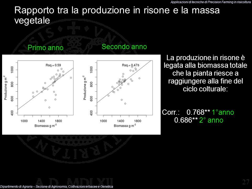 Rapporto tra la produzione in risone e la massa vegetale