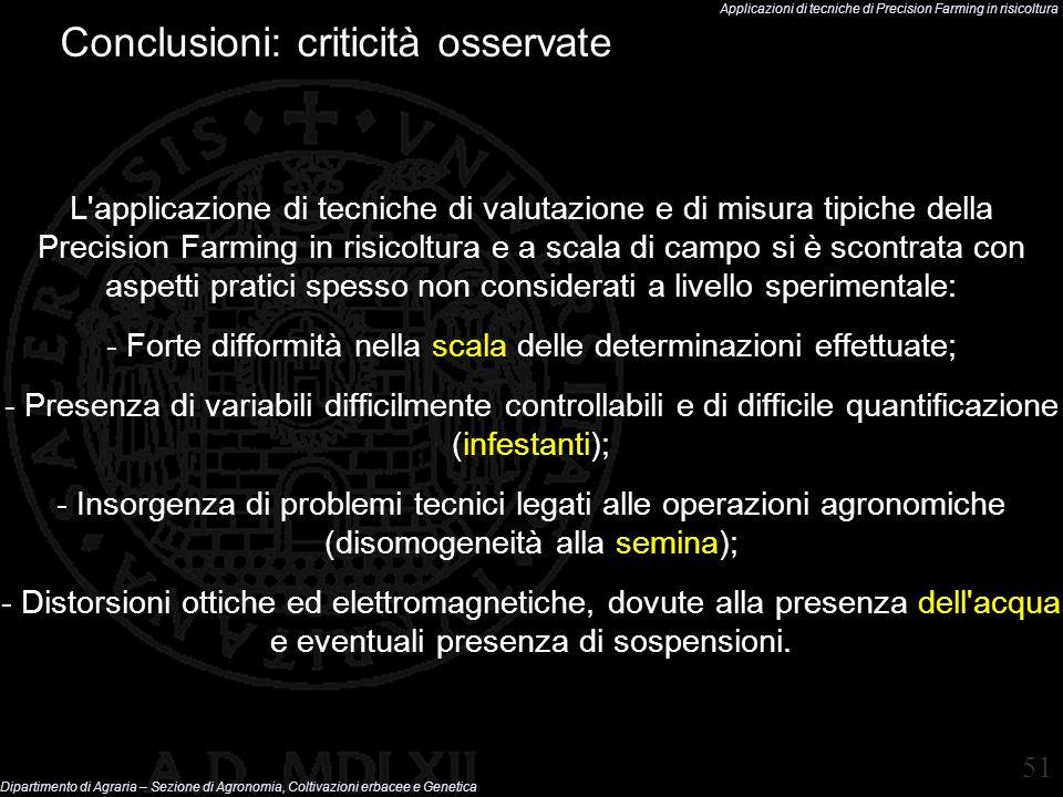Conclusioni: criticità osservate