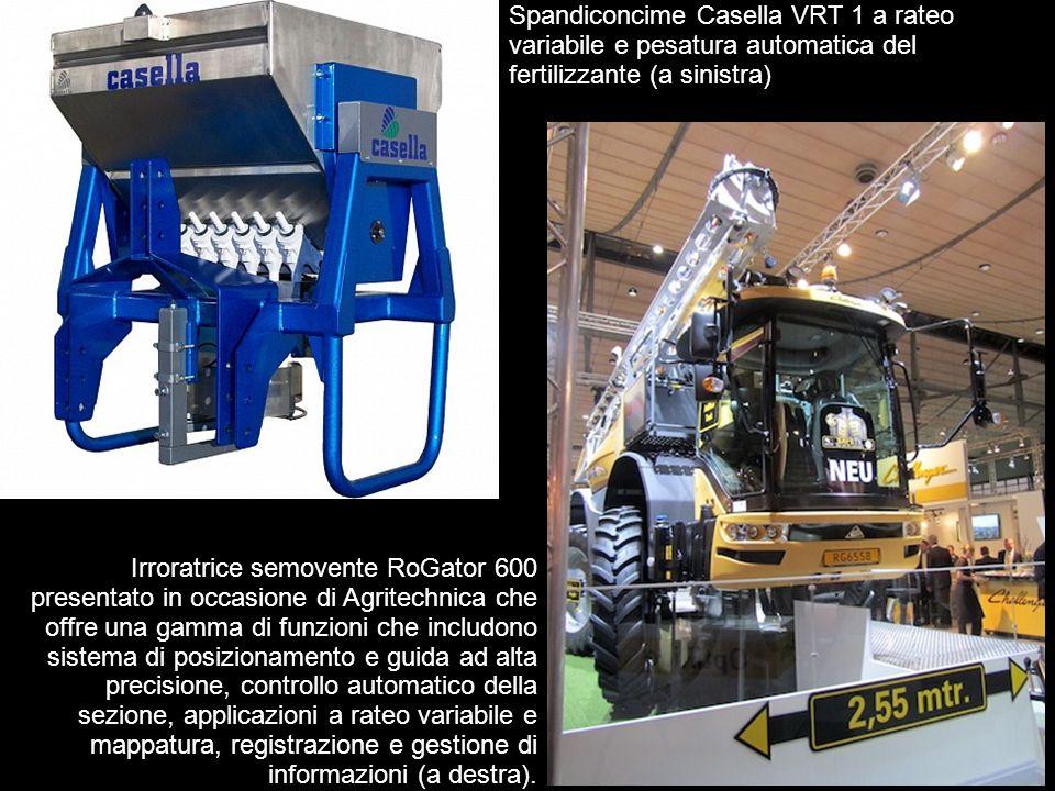 Spandiconcime Casella VRT 1 a rateo variabile e pesatura automatica del fertilizzante (a sinistra)