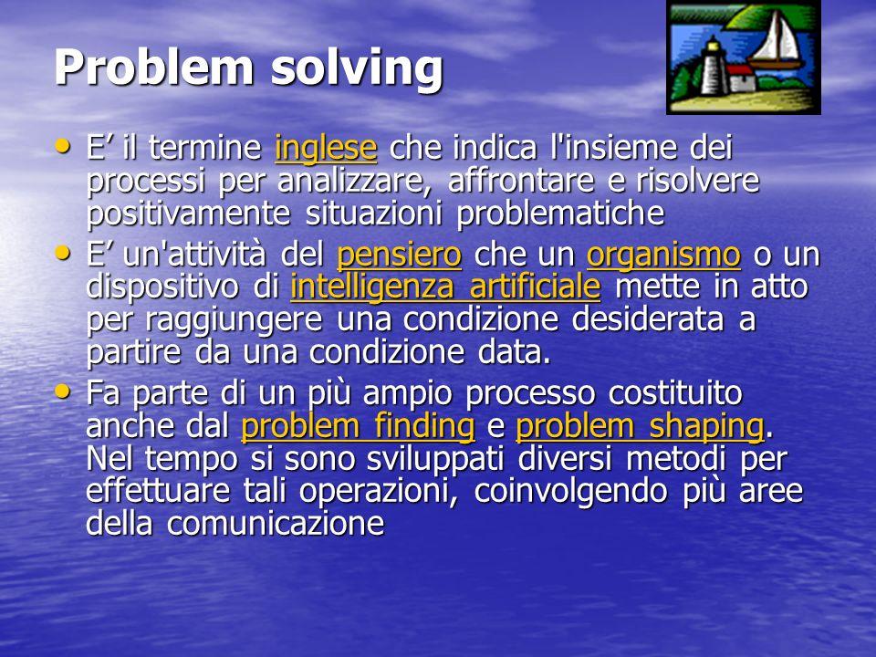 Problem solving E' il termine inglese che indica l insieme dei processi per analizzare, affrontare e risolvere positivamente situazioni problematiche.