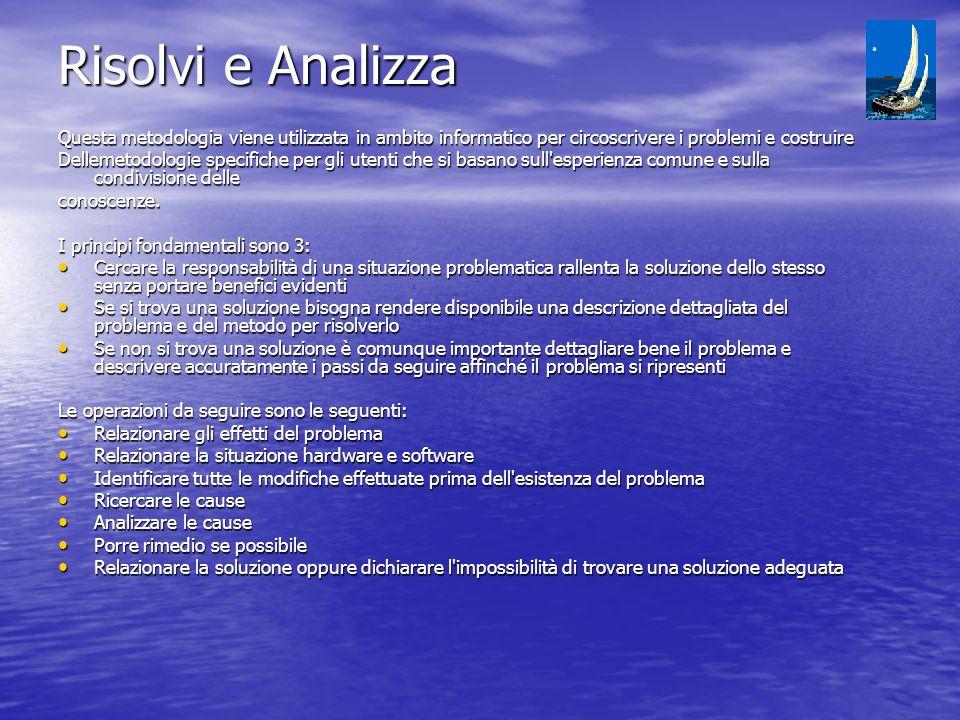 Risolvi e Analizza Questa metodologia viene utilizzata in ambito informatico per circoscrivere i problemi e costruire.