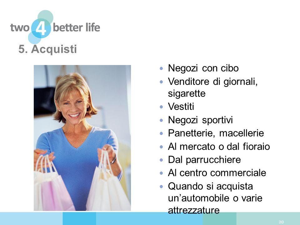 5. Acquisti Negozi con cibo Venditore di giornali, sigarette Vestiti