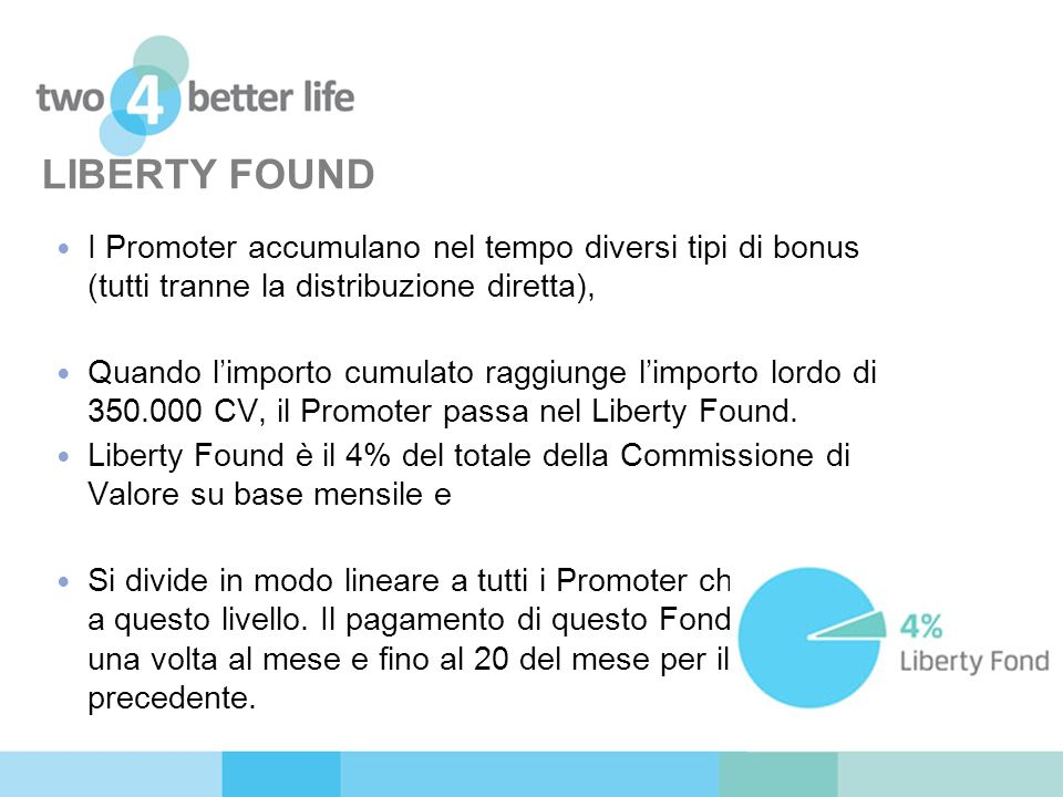 LIBERTY FOUND I Promoter accumulano nel tempo diversi tipi di bonus (tutti tranne la distribuzione diretta),