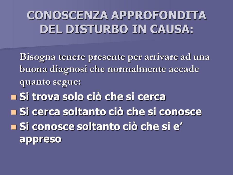 CONOSCENZA APPROFONDITA DEL DISTURBO IN CAUSA: