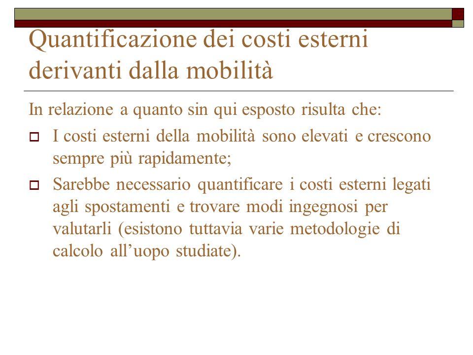 Quantificazione dei costi esterni derivanti dalla mobilità