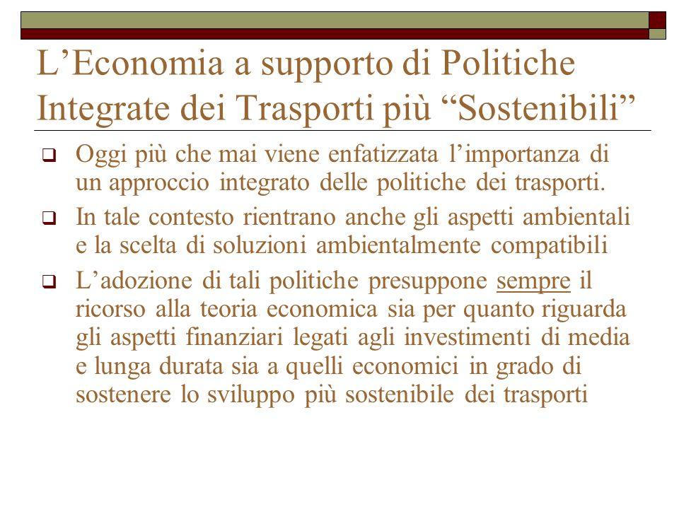 L'Economia a supporto di Politiche Integrate dei Trasporti più Sostenibili