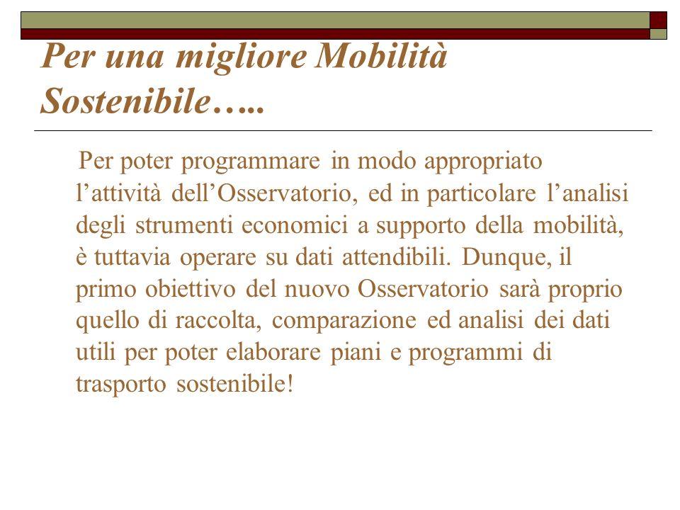 Per una migliore Mobilità Sostenibile…..