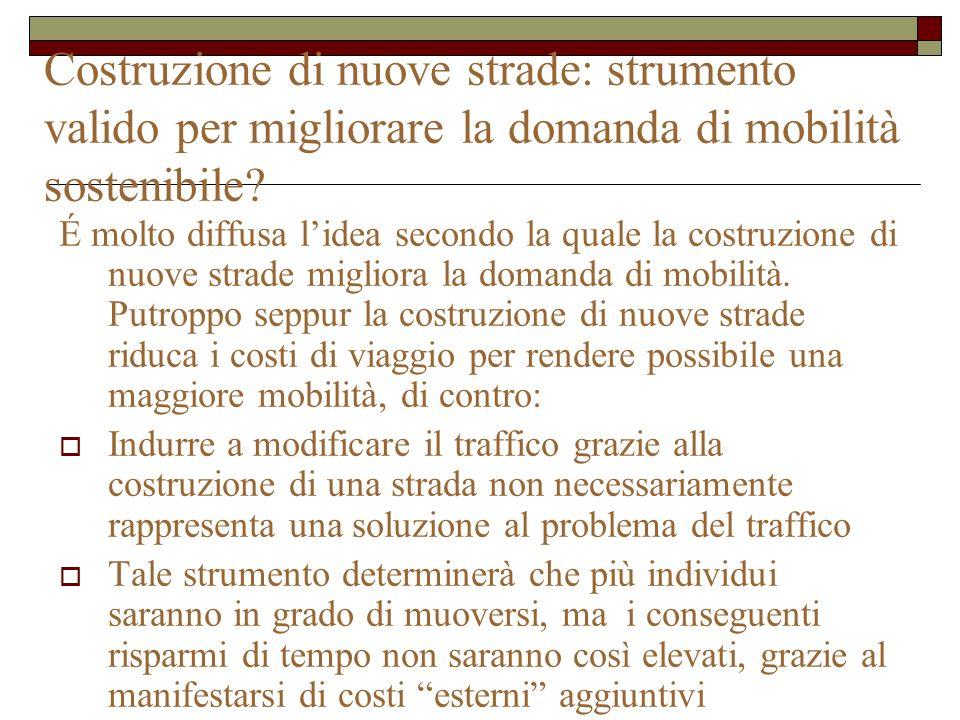 Costruzione di nuove strade: strumento valido per migliorare la domanda di mobilità sostenibile