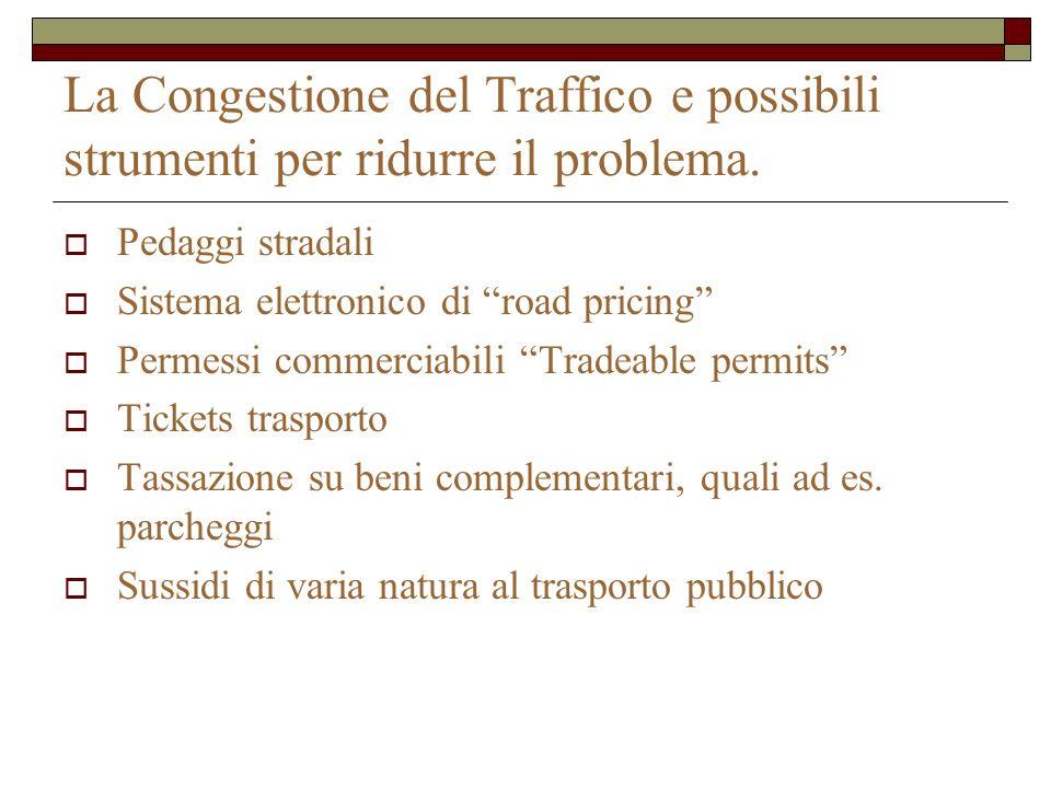 La Congestione del Traffico e possibili strumenti per ridurre il problema.