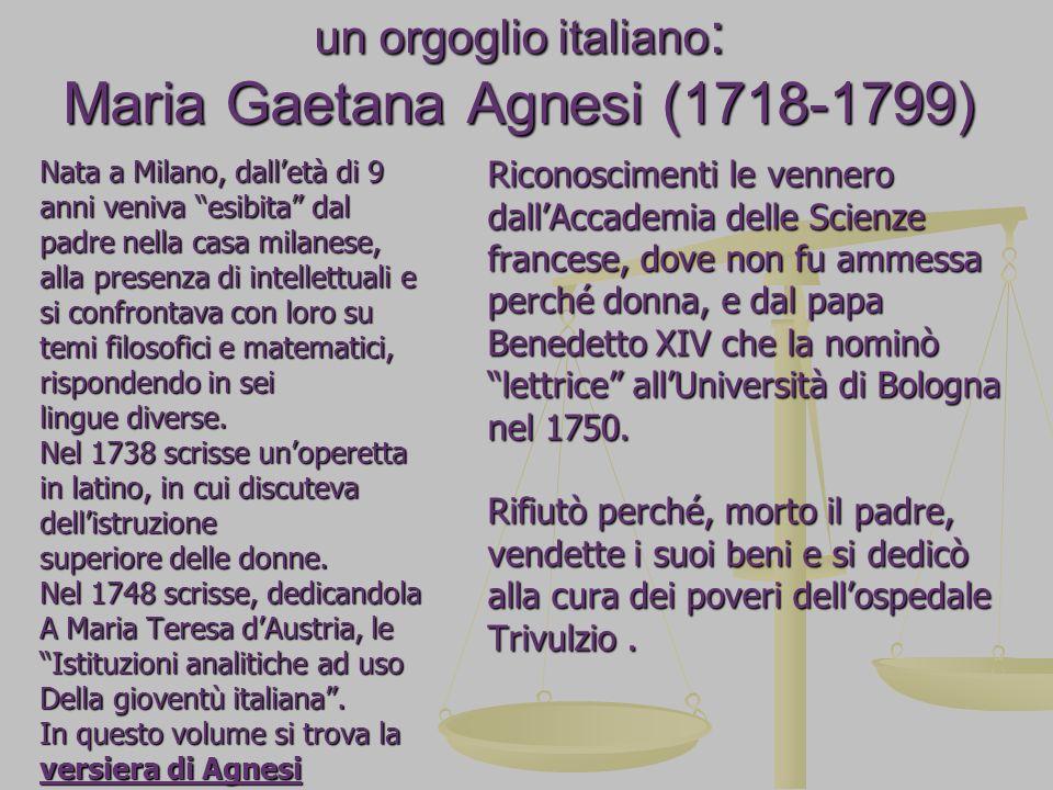 un orgoglio italiano: Maria Gaetana Agnesi (1718-1799)